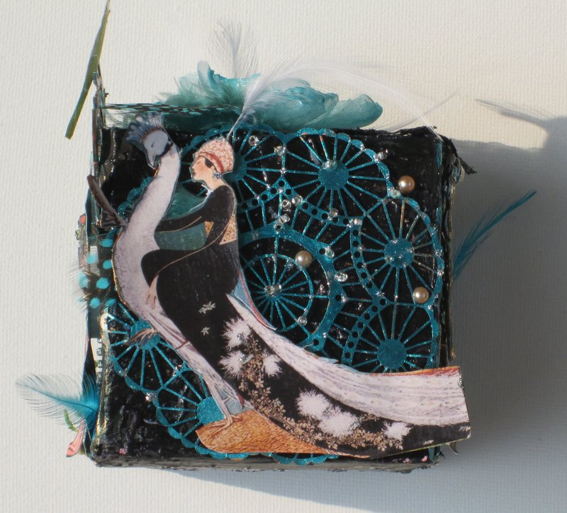 Artist Trading Block in Turquoise and Black