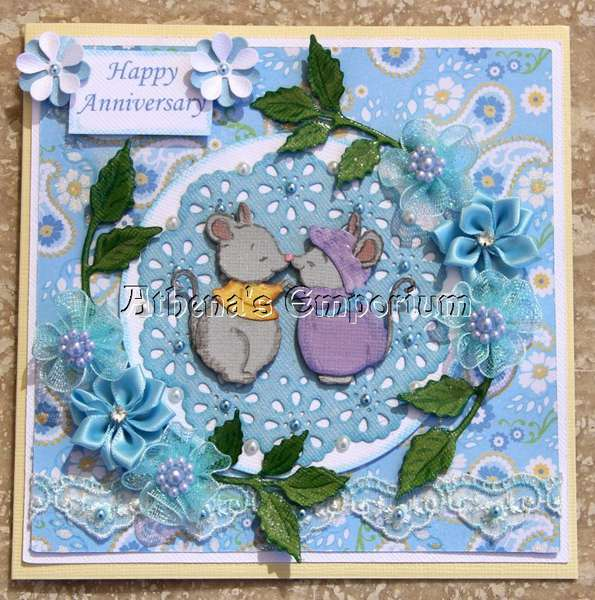 Blue floral anniversary card