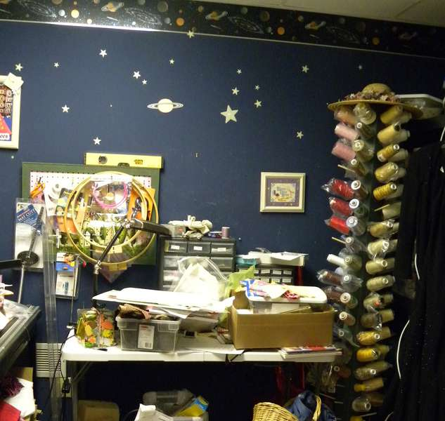 One Wall in my Craft Room, Before Organizing it