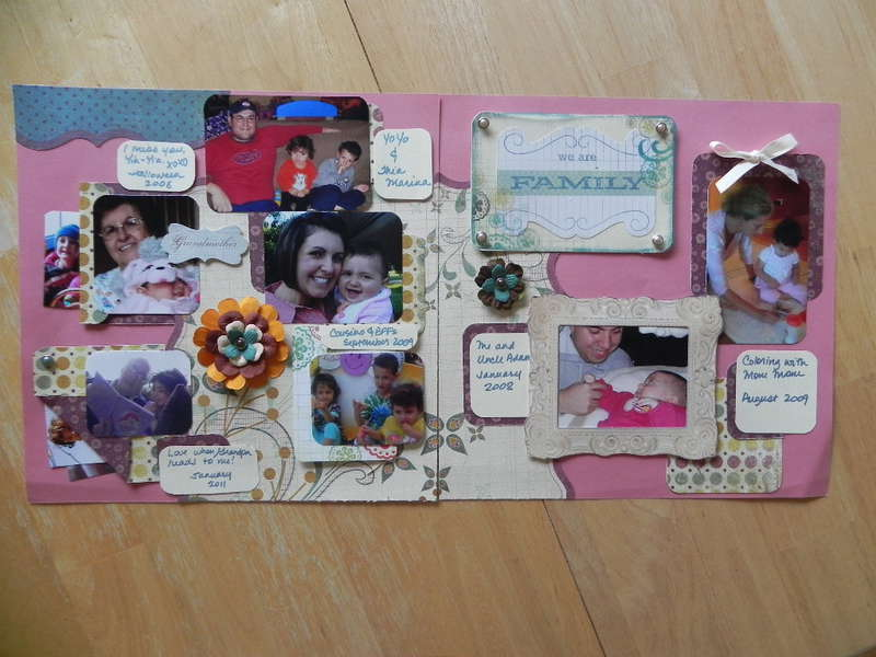 My Very First LO!! Daughter's Scrapbook - Family Spread