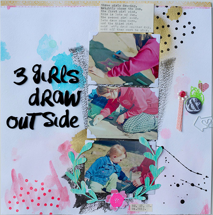 3 girls draw outside