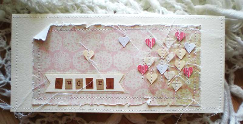 "Birthday card ""sewed hearts"""