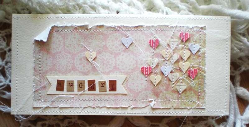 "Birthday card ""sewed hearts"""