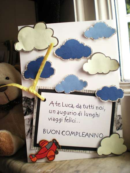 Birthday card with clouds