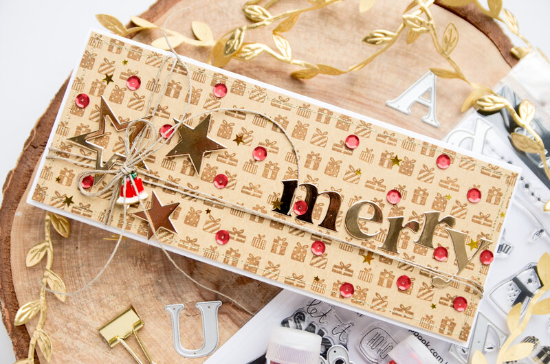 Christmas card with stamped background