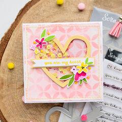 Heart shaker card in pink