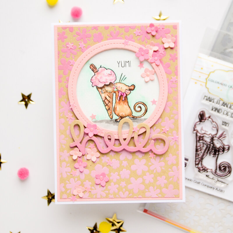 Hello card with cute mouse