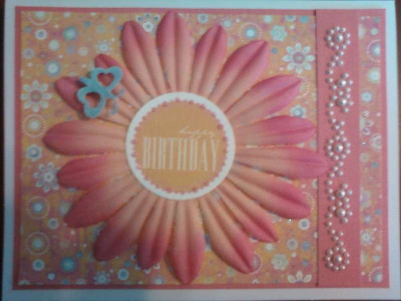Pink Flower Birthday Card with Pearls