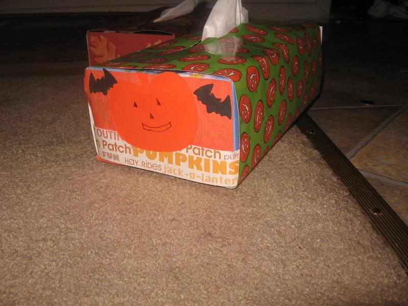 Pumpkins (fall) Altered kleenex box--After