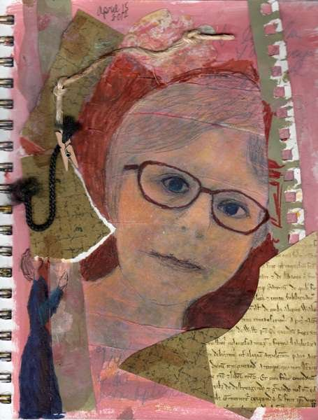 Journal page, self-portrait