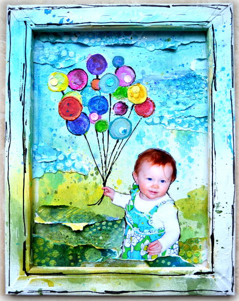 Mixed Media Canvas - Balloons