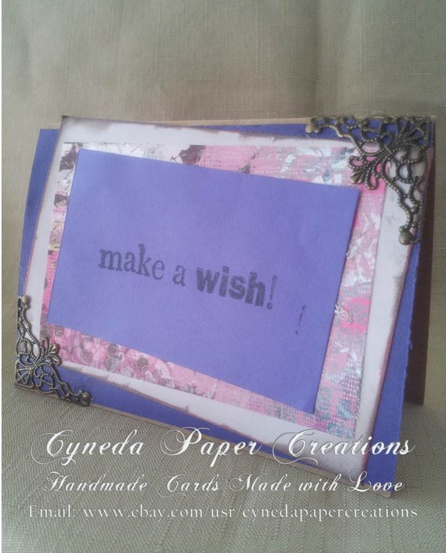 CYNEDA PAPER CREATIONS HANDMADE BIRTHDAY MAKE A WISH GREETING CARD