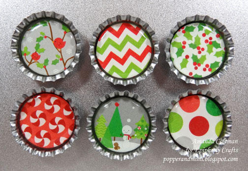 Christmas Bottle Cap Magnets