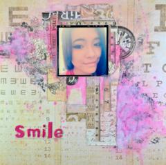 Mixed Media Scrapbook layout: Smile