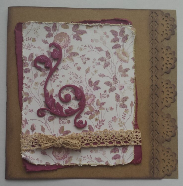 Card with lace and arabesque