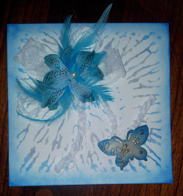 Card in blue and silver