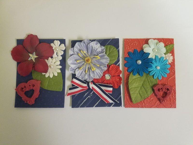 Patriotic Flowers ATC's