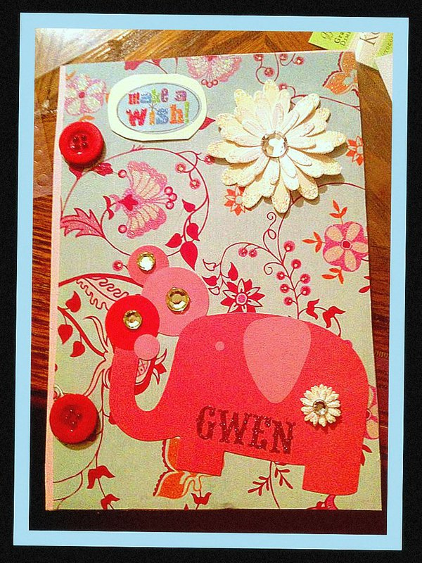 Birthday Card: Simple, Bling, Child's Play Elegance