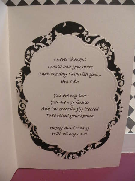 Inside of Anniversary card