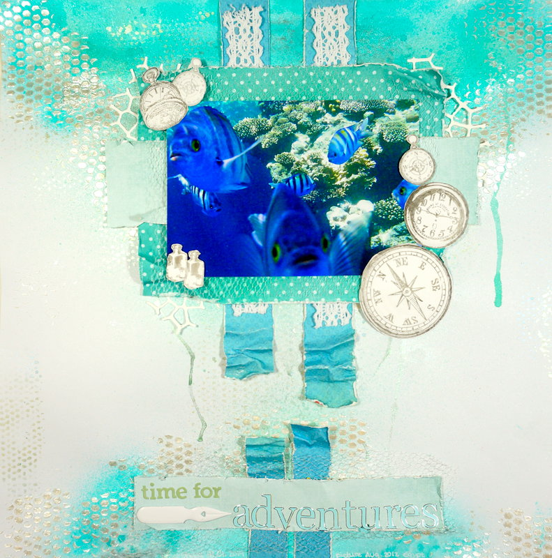 Blue Fishes - Mixed Media Layout