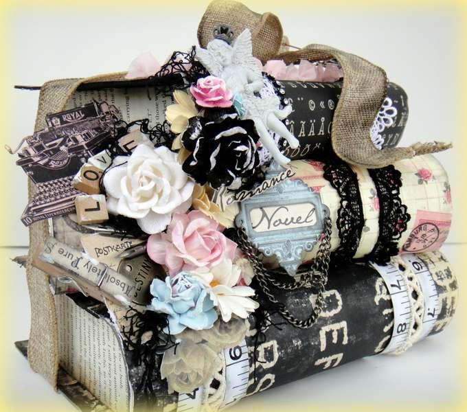 Prima Romance Novel Altered Stacked Book Box