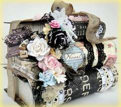 Prima Romance Novel Altered Stacked Book Box
