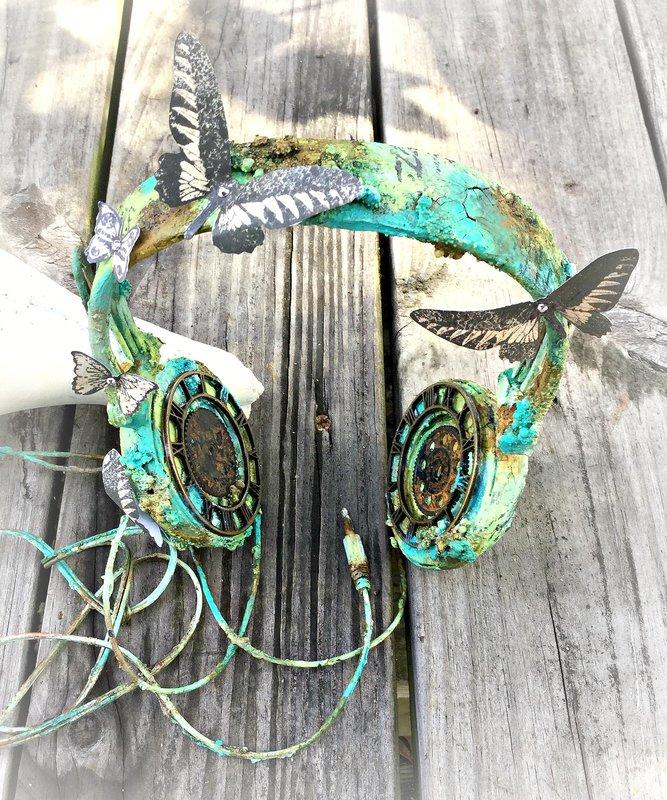 Altered Mixed Media Headphones