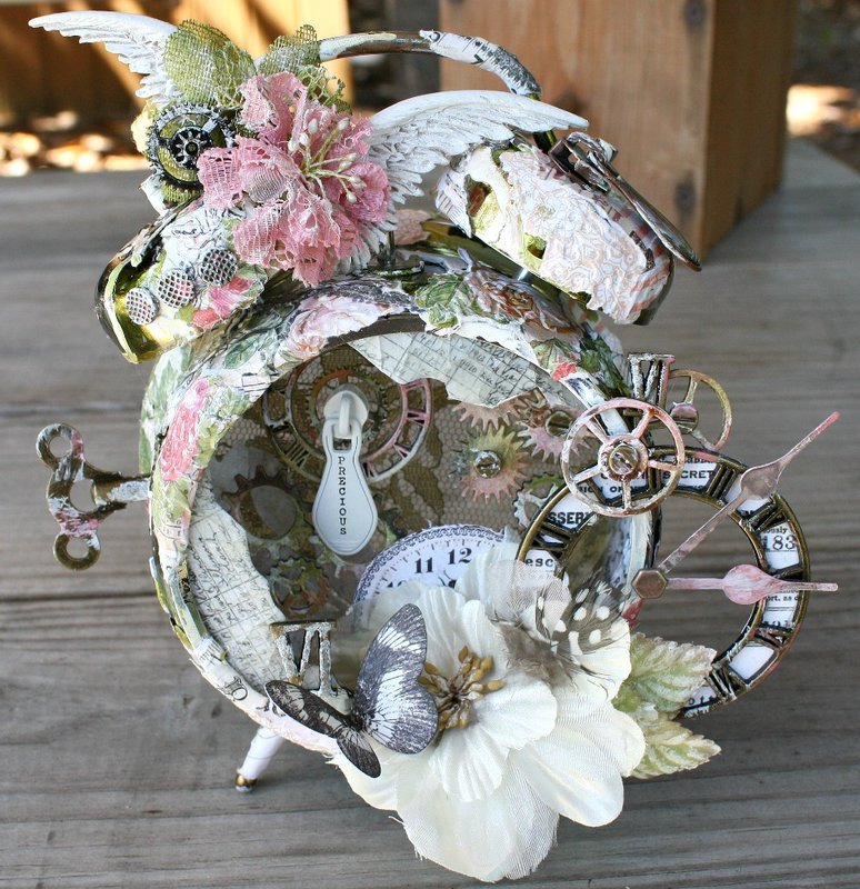 Prima Lyric Assemblage Mixed Media Clock