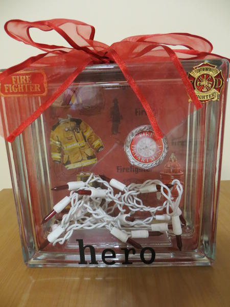 "Glass Block ""Hero"" Decorative piece"