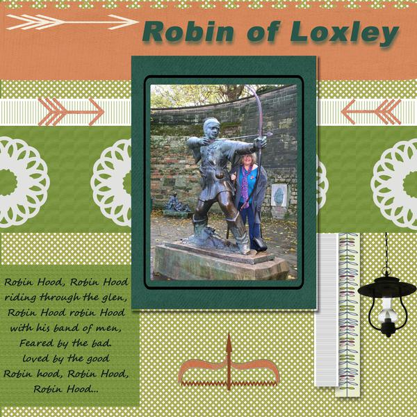 Tammy & statue of Robin Hood
