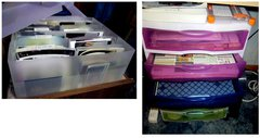 Photo Box and Sterilite 6 multi color drawers