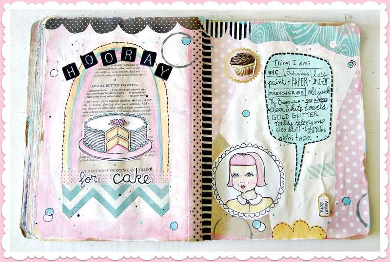 Hooray for cake!  An art Journal spread