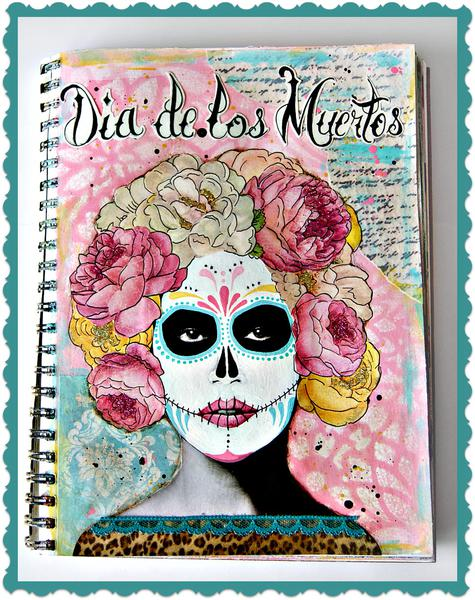 Day of the Dead Art Journal page