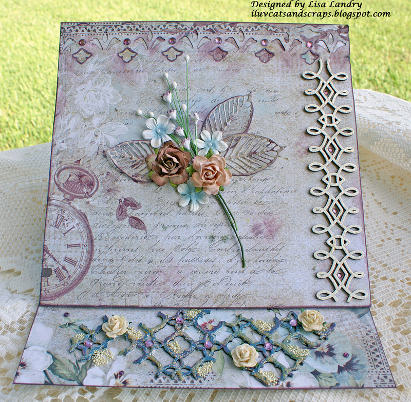 Brianne's Special Easel Card ~ gorgeous Blue Fern Studios papers