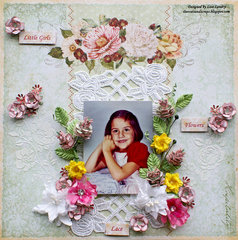 Little Girls Love Flowers & Lace (Final layout for Blue Fern's October Fan of the Month)