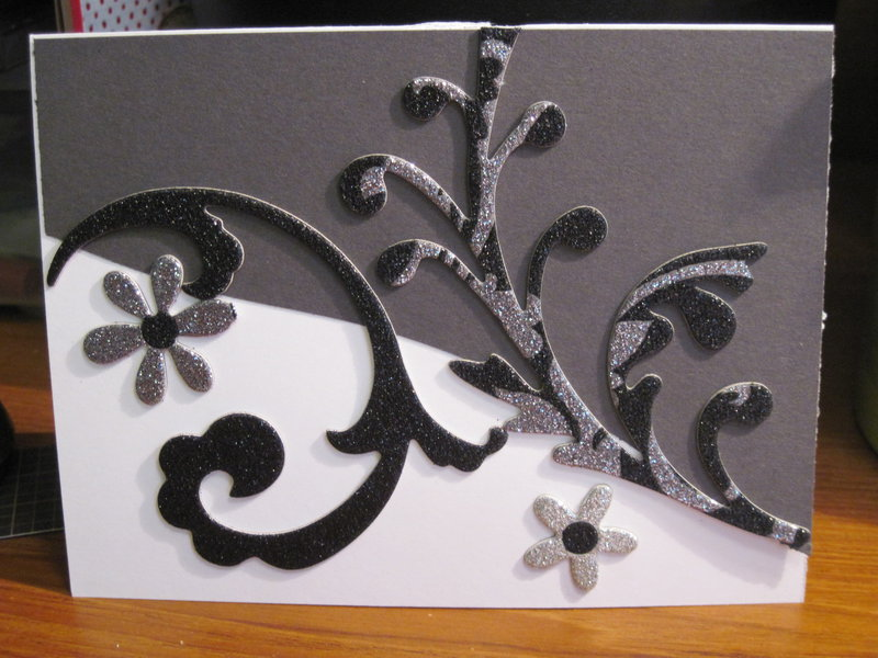Black and white Swirly card for Card challenge-photo inspiration