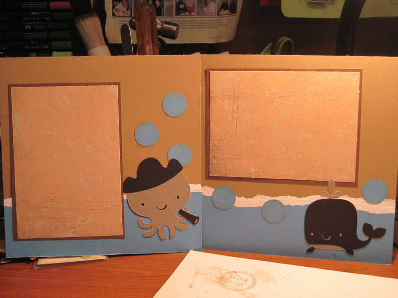Whale and octopus page for Baby boy album