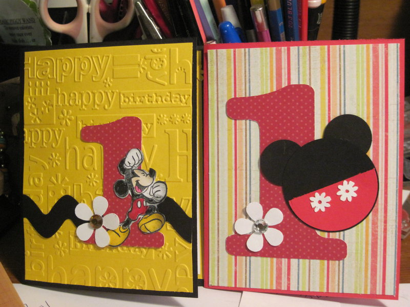 Two mickey mouse invitations samples.