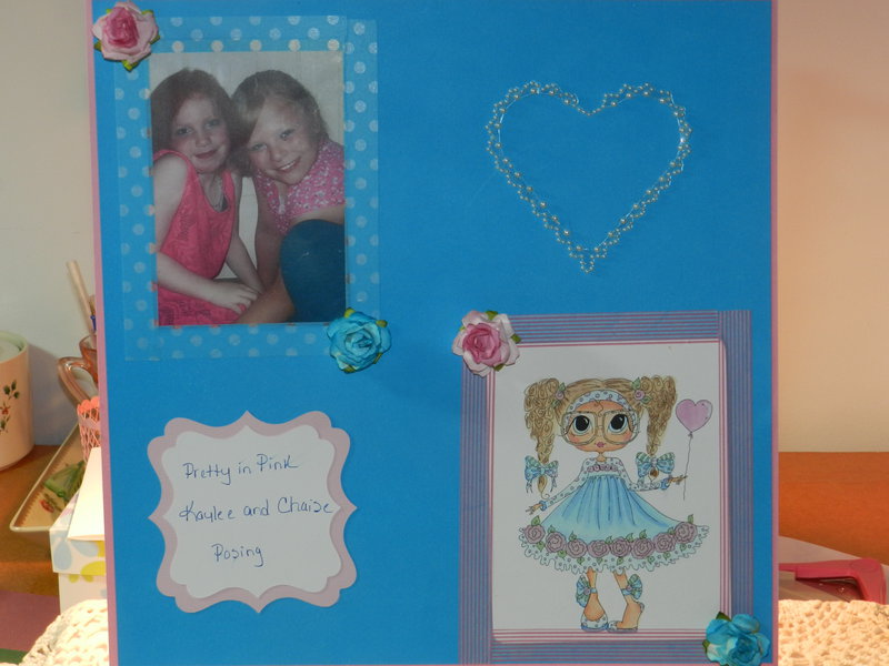 Scrapbook Page in Pink and Blue