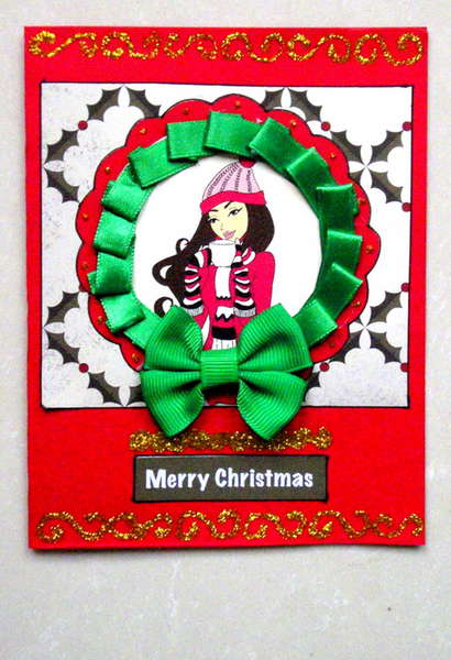 Christmas Ribbon Wreath Card