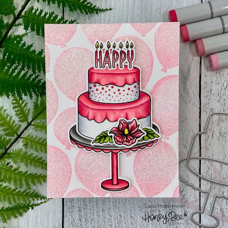 Sparkly Stenciled Birthday card