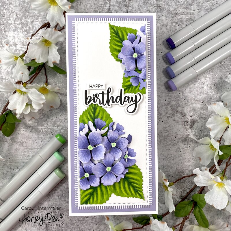 Slimline Hydrangea Birthday Card