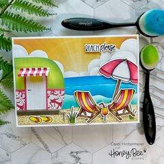 Beach Scene card with Camp Trailer
