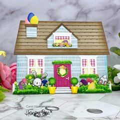 Easter Decorated House Shaped Card