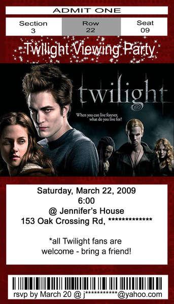 Twilight Invitation Ticket
