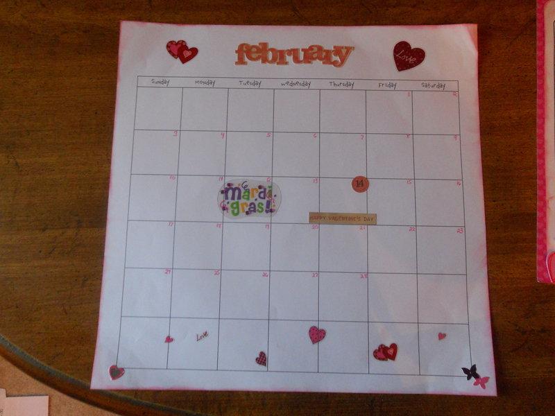 Feb. 2013 Calendar page