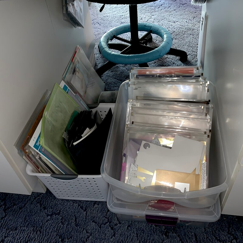 Solid scraps organized by color
