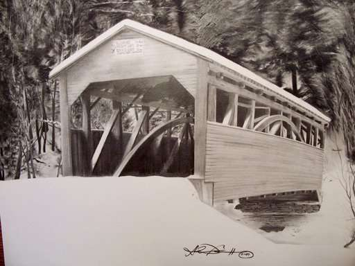 Covered Bridge - Graphite drawing