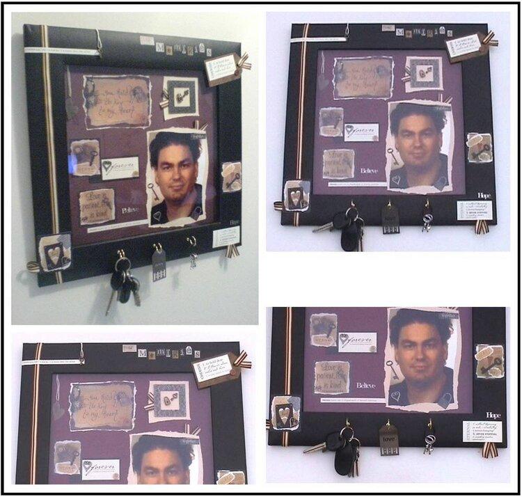 Altered Photo Frame and Key Holder