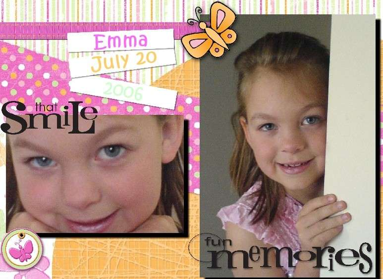 My first attempts at Digital Scrapbooking ! My girl; my daughter Emma !